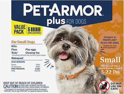 PetArmor Plus Flea and Tick Prevention For Dogs (4-22 Lbs), 6 Treatments