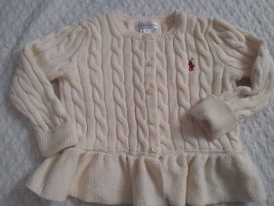 Ralph Lauren Beige Button Up Cardigan W/Ruffle Bottom Girls/Infant Size 24 Month