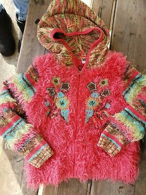 Pampolina Super Soft Colorful Zip Up Hooded Sweater Jacket Girls Size 5