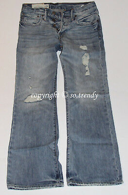 NWT ABERCROMBIE & Fitch Mens Vintage Destroyed Low Rise KILBURN BOOT Jeans 28x30