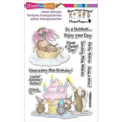 New Stampendous RUBBER STAMP clear Acrylic MICE WISHES HOUSE MOUSE free USA ship
