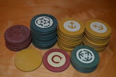 vtg clay poker chip lot of 46 gaming casino interlock circle triangle C anchor