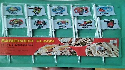 1 Pack 10 x Vintage Sandwich Flag Meat & Fish Decorative Food Buffet Toppers