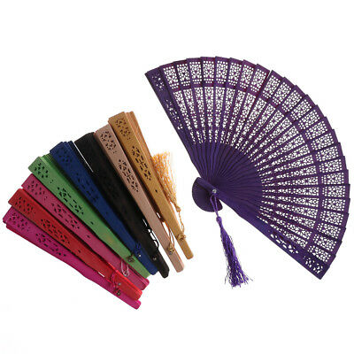 Wedding Hand Fragrant Party Carved Bamboo Folding Fan Chinese Wooden Fan  ZY