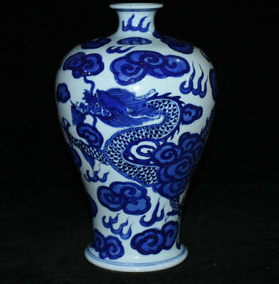 "10"" Kangxi Marked Blue White Porcelain Dragon Bottle Vase Palace Dynasty China"