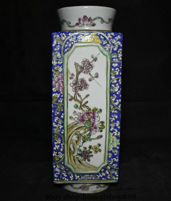 "15.2"" Mark Old China Wucai Porcelain Palace Beautiful Woman Flower Bottle Vase"
