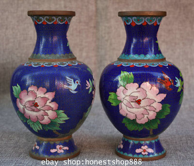 "8.4"" Old China Copper Cloisonne Enamel Dynasty Flower Bird Pot Bottle Vase Pair"