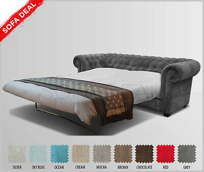 SOFA BED - IMPERIAL - CHESTERFIELD - 3 or 2 Sofa Set Velour Silver Grey - Fabric
