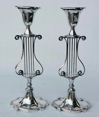 """Pair Of Vintage Sheffield Silver Plate Over Copper Oval Lyre Candlesticks 12"""" T"""