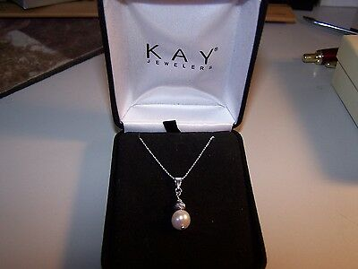 e763bc409 New Kay Jewelers Sterling Silver 8 Mm Cultured Pearl Solitaire W/accents &  Cha