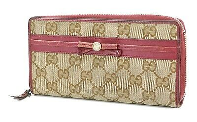 478b50da745 Auth GUCCI Brown GG Canvas and Purple Leather Long Wallet Coin Purse  31680B