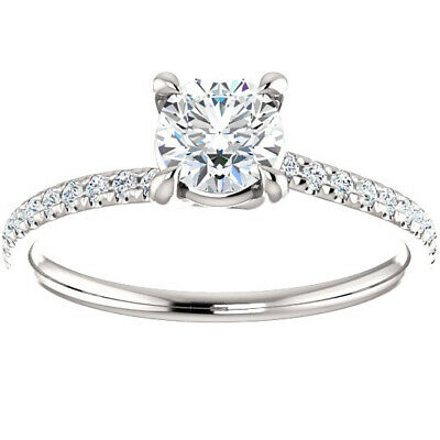 G/SI .66ct Diamond Engagement Ring Solitaire 14k White Gold Round Cut Enhanced