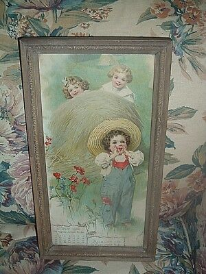Antique Color Print Dated 1905-On Calendar- 3 Little Girls In A  Field Of Flower