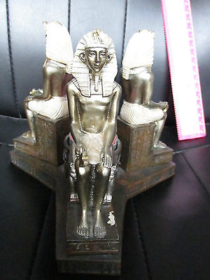 EGYPTIAN FIGURES 3 TEA LIGHT HOLDER ANHK VGC KING TUT Tutankhamen young boy king