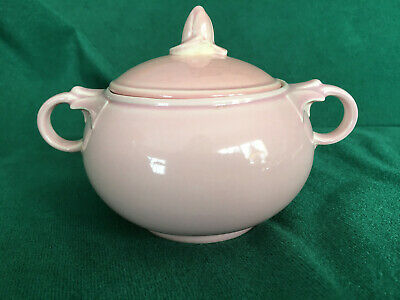 Lu-Ray Pastels Pink Sugar Bowl With Lid~9 40~