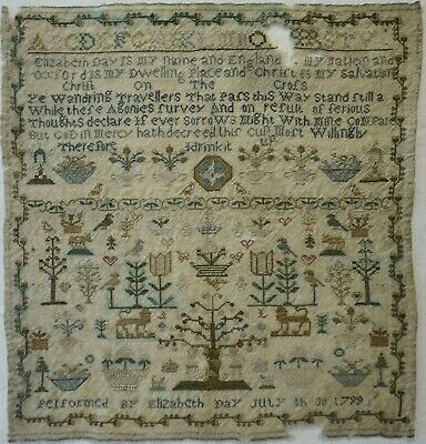 Late 18Th Century Adam & Eve, Motif & Verse Sampler By Elizabeth Day - 1799