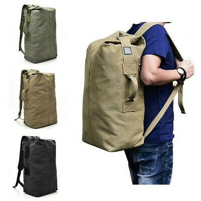Large Military Tactical Canvas Backpack Army Bucket Outdoor Travel Rucksack