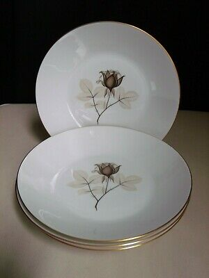 Rosenthal Selb Germany Porcelain Shadow Rose Flower (4) Large Coupe Soup Bowls B