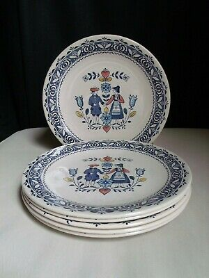 Johnson Brothers Bros England Old Granite Hearts & Flowers Set (6) Dinner Plates