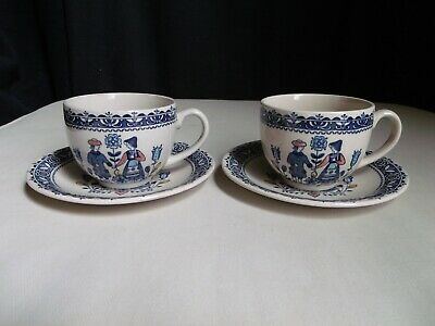 Johnson Brothers England Old Granite Hearts & Flowers (2) Cup & Saucer Sets A1