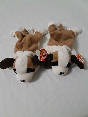 Pre-owned 1996 Ty Beanie Baby Bernie 4th/5th Gen Tags with Errors Set Of Two