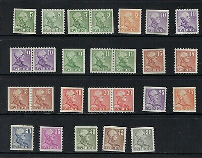 Sweden Gustav V Definitives 1939-1948 MNH With Pairs