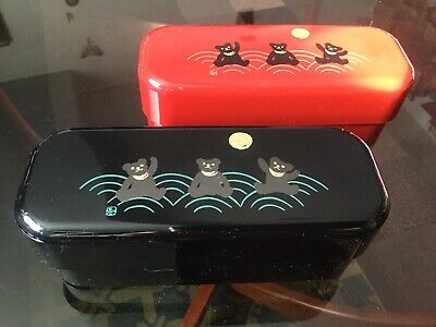 YAMANAKA Bento Cases MADE IN JAPAN CHILDS CHOPSTICKS/pencil Case X 2 RED & BLACK