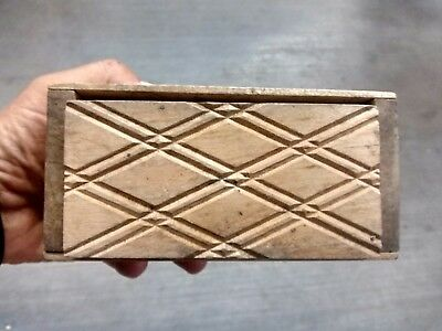 Antique Wood Box Form Butter Press Stamp Geometric Design Country Kitchen Prim