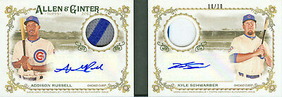 2017 Allen & Ginter Addison Russell/Kyle Schwarber Auto Relic Book 10/10! Cubs!