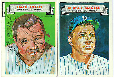 1967 Topps Who Am I Babe Ruth & Mickey Mantle Ex++ To Nm! Yankees Hall Of Fame!