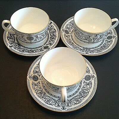 Royal Worcester Padua Cups And Saucers. Set Of 3 Each.. Fine Bone China. 1966.