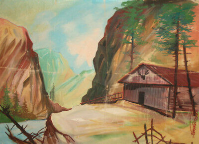 Impressionist oil painting landscape country scene signed