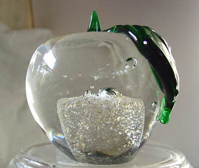 Beautiful Large Clear Glass Crystal Apple Paperweight for Teacher NEW