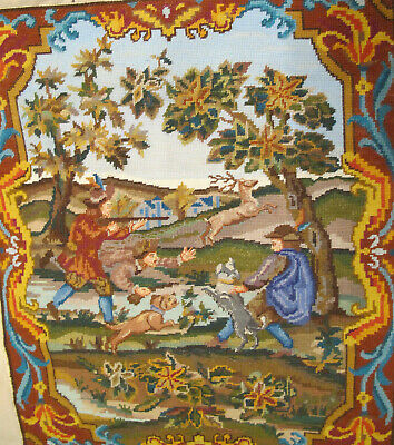 "Vtg Renaissance Hunt Scene Hunting Dogs Deer Stag 29 x 25"" Needlepoint Finished"
