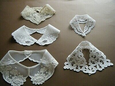 Old Vtg Assorted lace Collars beautiful lot of 5 ONLY for dolls bears small size