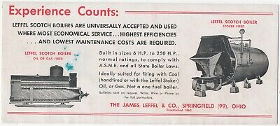 Experience Counts James Leffel & Co. Boilers Springfield Ohio Ink Blotter