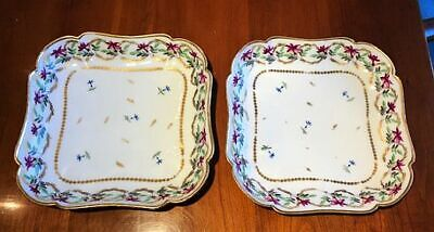 RARE PAIR 18th C. Lebœuf Paris Porcelaine de la Reine Square Dishes Low Bowls NR