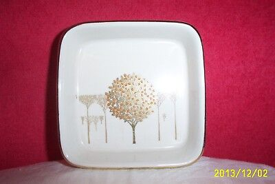 "Otagiri Japan Square Ornamental Dish ""GOLDEN MIST"" Copper Tree Gold Trim #556-FL"