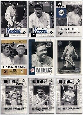Babe Ruth Upper Deck 2000 2001 Legends Of Ny Yankees Baseball 9 Card Lot Nice