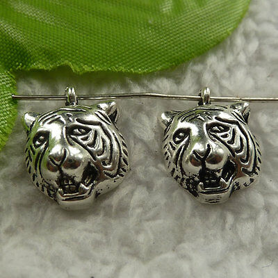 50pcs auspicious Tibet silver tiger head Jewelry Finding charm pendant 18x13mm