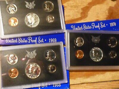 1968 1969 1970 Proof Set Run with Original Boxes 15 US Coins Lot