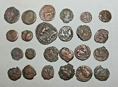 Lot of (24) Authentic Ancient Roman Coins Bronze Circa 300 AD Good Shape