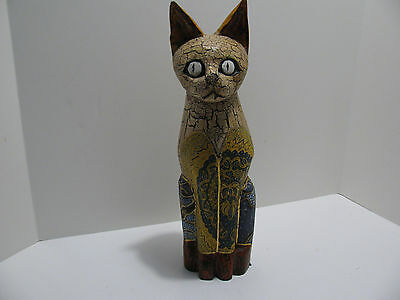 """Unique Folk Art Handpainted Carved Wood & Material Cat - Made in Indonesia 16"""""""