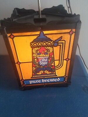(VTG) 1960s old style beer motion moving spinning light up stained glass sign wi