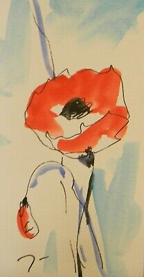 JOSE TRUJILLO ORIGINAL Watercolor Painting SIGNED Small 3x6 Red Poppies Blossom