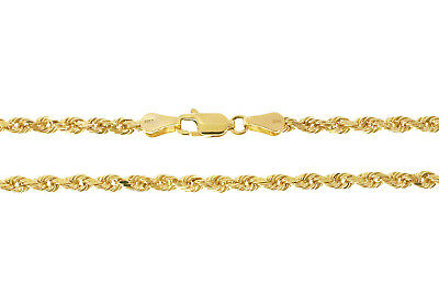 """14K Solid Yellow Gold 3mm Diamond Cut Rope Chain 8"""" 5.9grams"""