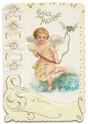 Ellen Clapsaddle Valentine Card - Cupid Leads Winged, Flying Heart on a Ribbon