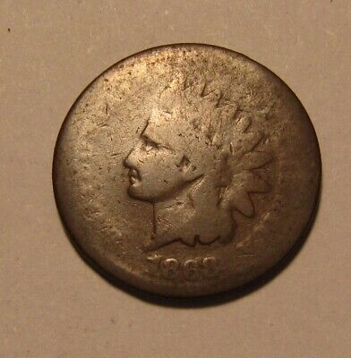 1868 Indian Head Cent Penny - About Good Condition - 33SU
