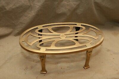 Vintage Antique Signed S Brass Tall Fireplace Trivet Stand Art Nouveau