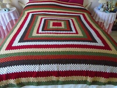 Large Vintage Handmade Crochet Blanket Stunning Earth Shades Approx 225 x 200cm